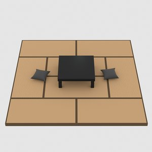 3D model japan tatami table pillow