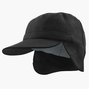 3D black military field cap