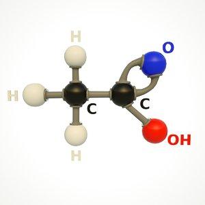 3D modeled acetic acid structure