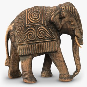3D indian wooden elephant statuette model