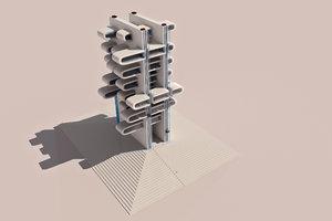 futuristic business office building 3D model
