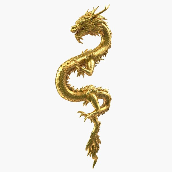 3D golden chinese dragon zodiac