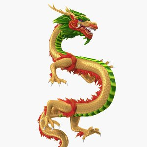 3D multicolored chinese dragon