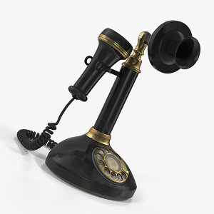 old upright telephone phone 3D model