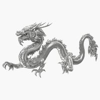 3D silver chinese dragon statue