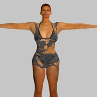 rigged realistic young woman 3D model