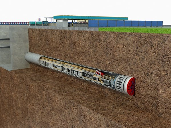 tunnel boring machine scence 3D