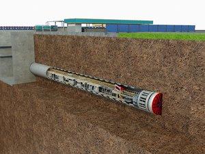 tunnel boring machine scence 3D