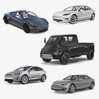 tesla cars 4 3D