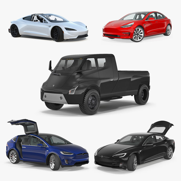 3D tesla cars 4 rigged