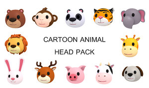 animal head pack cartoon 3D