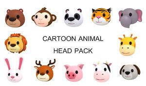 animal head pack cartoon 3D