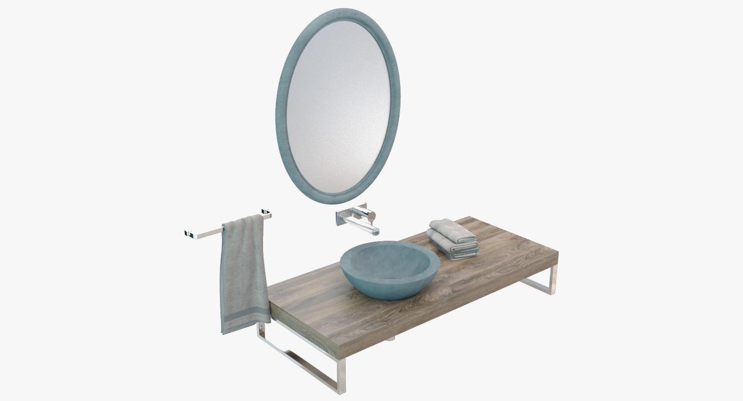 3D concrete washbasin sink model