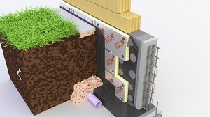 3D model thermal insulation brick wall