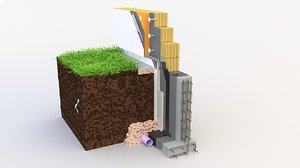 thermal insulation brick wall 3D model