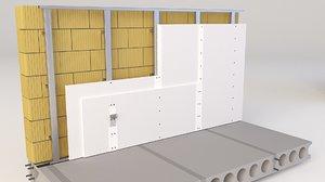 3D metal wall model