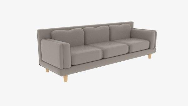 fabric sofas triple cuddle 3D model