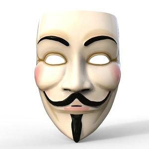 3D masks guy fawkes