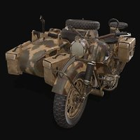 3D model r75 war motorcycle