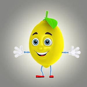 3d model cartoon lemon lime