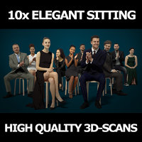 10x Scanned Elegant Sitting People Vol01 Collection Gobotree 3D