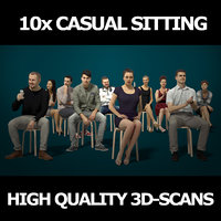 10x Scanned Casual Sitting People Vol02 Collection Gobotree 3D