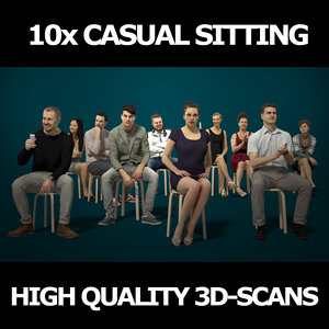 3D scanned people casual 10x