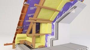 3D model thermal insulation plastering mortar