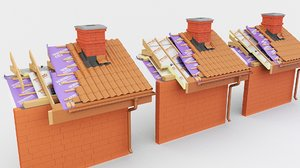 3D roof insulation pir pur model
