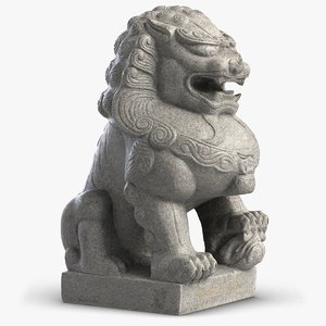 3D model sculpture thai lion guardian