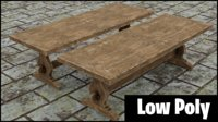 medieval wooden long table model