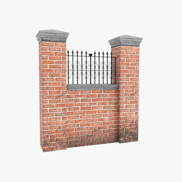 3D model garden wall v2