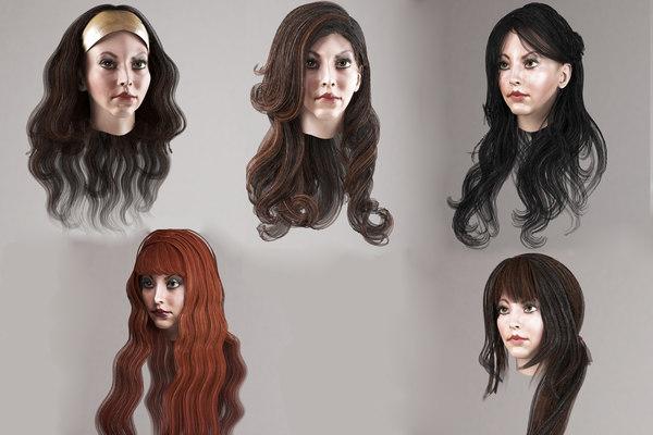 3D long hair 5 hairstyles model