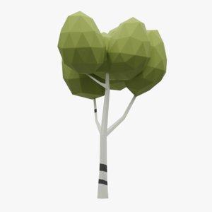 cartoon birch tree model