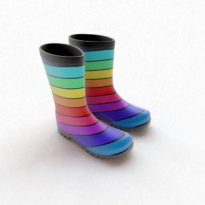 wellington boots striped 3D model