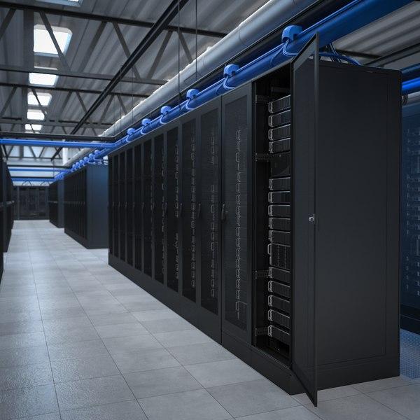 3D server network rack model