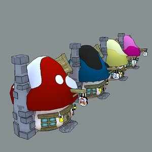 mushroom houses smurfs 3D model