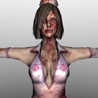 3D model zombie nurse
