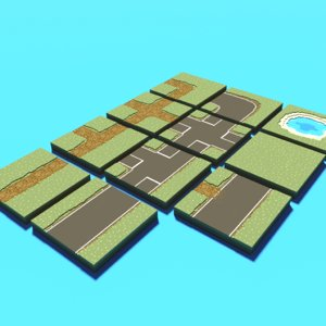 voxel tiles terrain 3D model