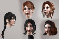Female hairstyle lowpoly 5 species