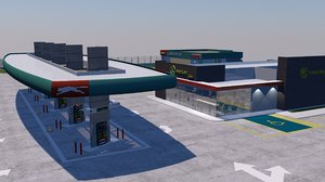 3D model puma gas station