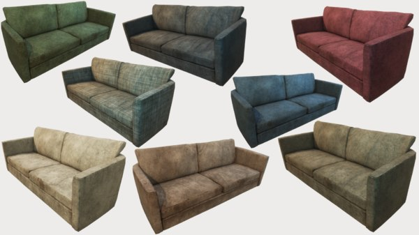 old dirty couches pbr 3D