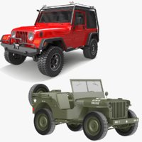 willys jeep wrangler 3D model