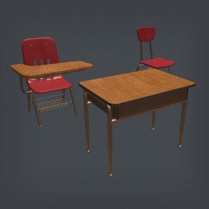 3D school chairs desk
