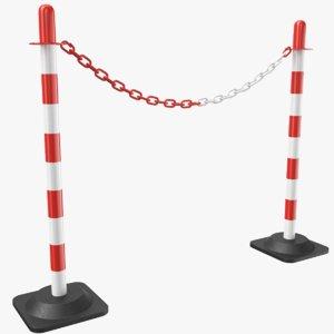 3D parking barrier posts chain