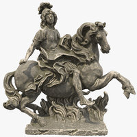 3D stone statue louis xiv