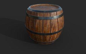 3D varnished wooden barrel