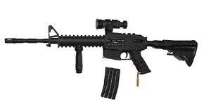 rigged machine gun 3D