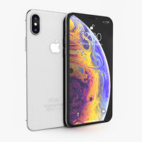 apple iphone xs silver 3D model
