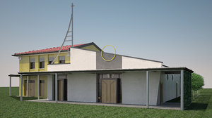 modern church interior 3D model